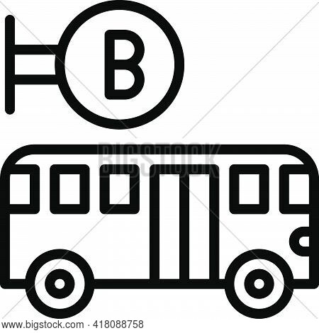 Bus Stop Icon, Supermarket And Shopping Mall Related Vector Illustration