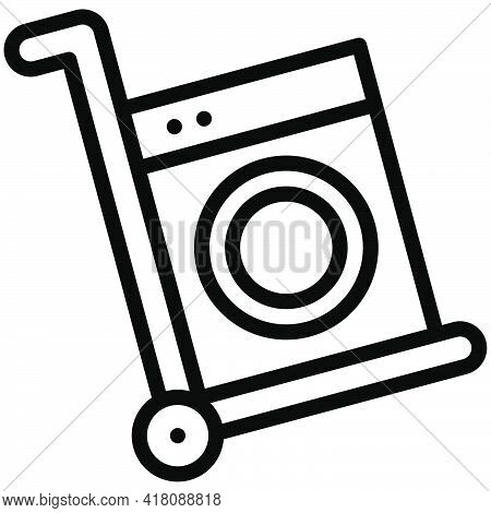 Hand Truck With Washing Machine Icon, Supermarket And Shopping Mall Related Vector Illustration