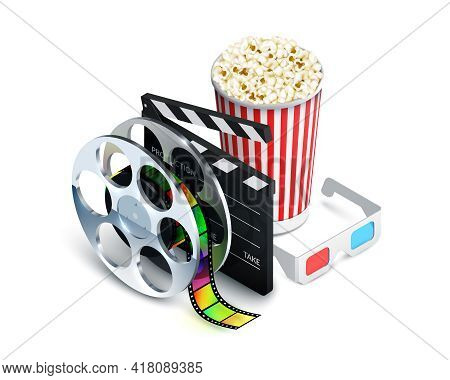 Cinema Concept With Movie Theatre Elements Set Of Film Reel Clapperboard Popcorn 3d Glasses Realisti