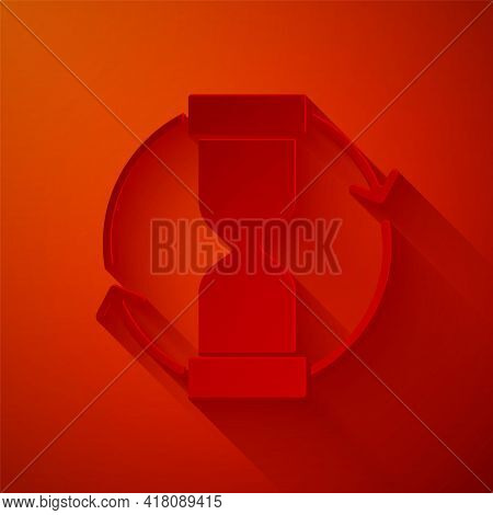 Paper Cut Old Hourglass With Flowing Sand Icon Isolated On Red Background. Sand Clock Sign. Business