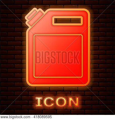 Glowing Neon Canister For Gasoline Icon Isolated On Brick Wall Background. Diesel Gas Icon. Vector