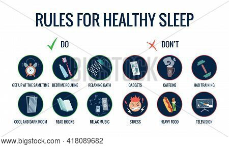 Infographics Of Healthy Sleep Tips. Useful Advices For Better Sleep. Recommendation For Night Rest.