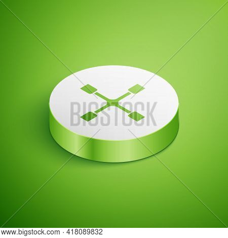 Isometric Wheel Wrench Icon Isolated On Green Background. Wheel Brace. White Circle Button. Vector