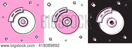 Set Car Brake Disk With Caliper Icon Isolated On Pink And White, Black Background. Vector