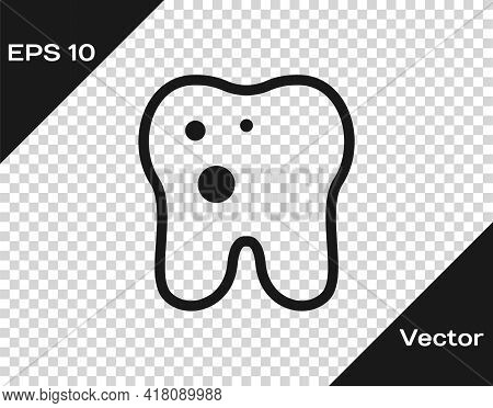 Black Tooth With Caries Icon Isolated On Transparent Background. Tooth Decay. Vector