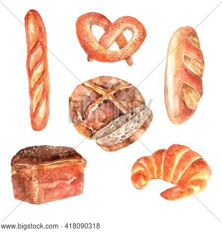 Fresh Breads Bakery Advertisement Watercolor Pictograms Collection Of Baguette And White Loaf Sketch