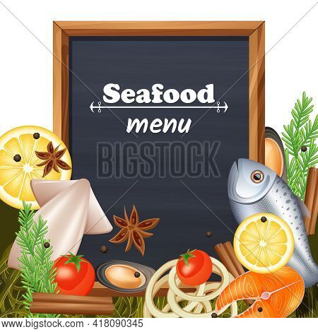 Seafood Restaurant Menu Template With Chalkboard And Fish Delicacy Vector Illustration