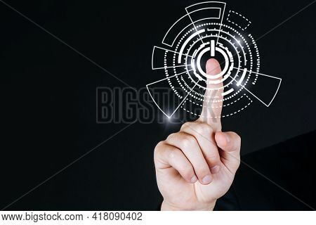 Businessman Hand Pressing Power Button With Virtual Screen Global Media Link Connecting On Dark Back