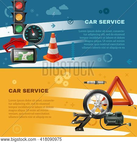 Car Maintenance Horizontal Banners With Stoplight Speedometer Cone Fuel Pump Navigator Candle Wheel