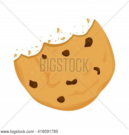 Cookie With Chocolate Crisps Bitten, Broken, Cookie Crumbs In Cartoon Flat Style Isolated On White B