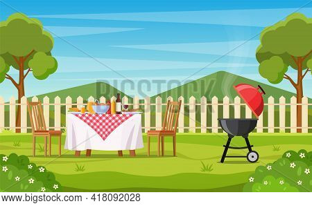 Bbq Party In The Backyard With Fence, Trees, Bushes. Picnic With Barbecue On Summer Lawn In Park Or