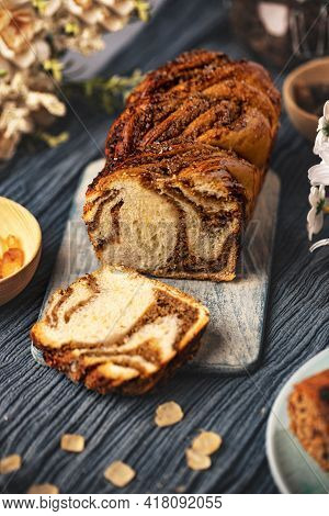 Twisted Babka With Walnuts. Bakery And Confectionery Products