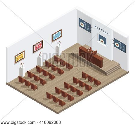 Auction Room Isometric Interior With Auctioneers Tribune Bidders Chairs Pictures On The Wall And Inf
