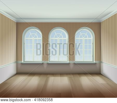 Room With  Arched Windows Background. Interior With Arched Windows Vector Illustration. Arched Windo
