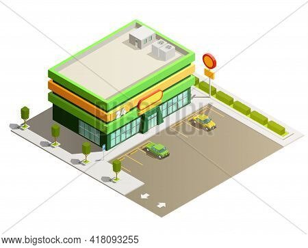 Department Store Supermarket Light Green Modern Building Exterior Outdoor Isometric View With Adjace