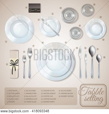 Table Setting Top View Infographics With Information About Dishware And Cutlery On Beige Background