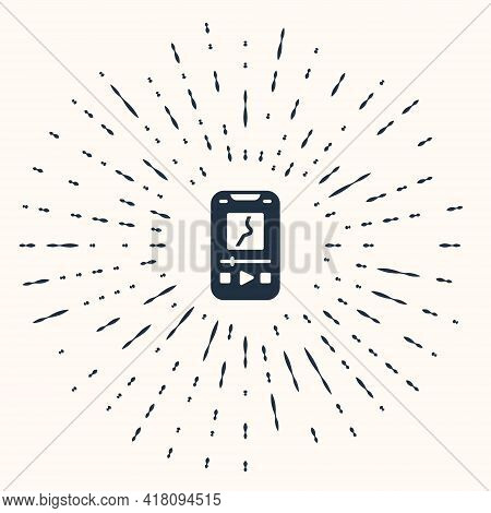Grey Music Player Icon Isolated On Beige Background. Portable Music Device. Abstract Circle Random D