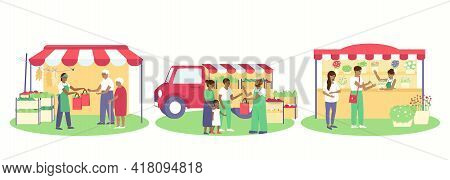 A Set Of Various Trade Tents, A Stall By Car, A Folding Tent, A Stationary Flower Stall. Tents With