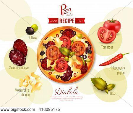 Pizza Diabola Recipe With Tomatoes, Pepper Chili, Olives, Mozzarella, Sausage, Basil On Background W