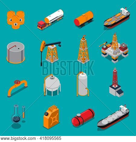Isometric Set With Oil Production And Refinery, Gas Extraction And Pipeline On Blue Background Isola