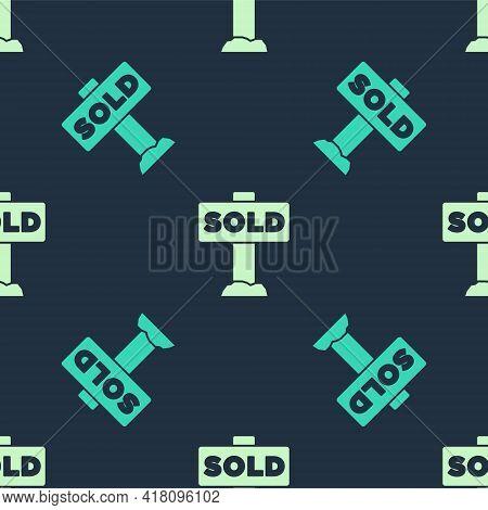 Green And Beige Hanging Sign With Text Sold Icon Isolated Seamless Pattern On Blue Background. Sold