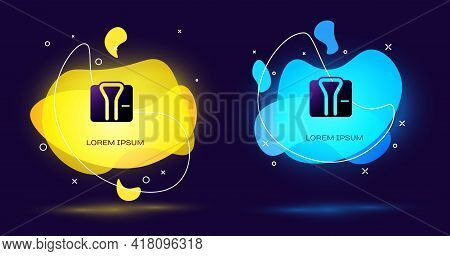 Black Bathrobe Icon Isolated On Black Background. Abstract Banner With Liquid Shapes. Vector