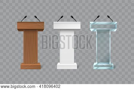 Rostrum Speech Stand. Podium With A Microphone. Conference Stage. Vector Illustration