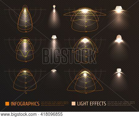 Light Effects Infographics With Bulbs, Lampshades And Schemes Measurements Of Illumination Intensity