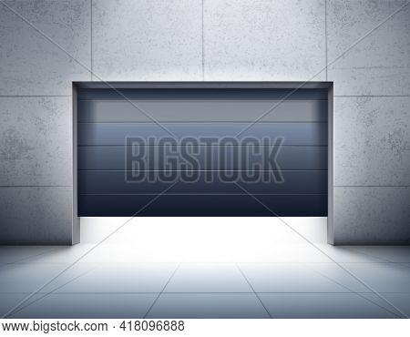 Garage Realistic Composition With Grey Tiled Walls And Floor And Opening Of Dark Shutter Door Vector