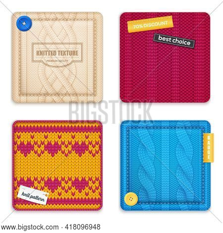 Realistic Knitted Patterns Concept 4 Square Samples Set With Jacquard Cable Texture Design Discount