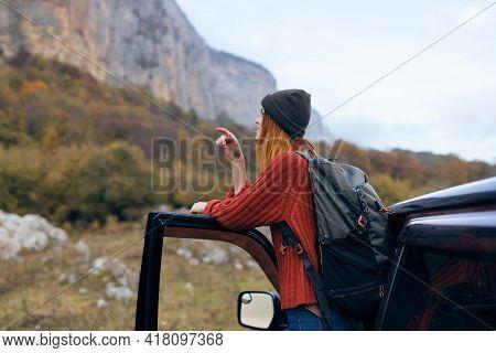 Woman Hiker Near Car In Mountains Travel Adventure Trip