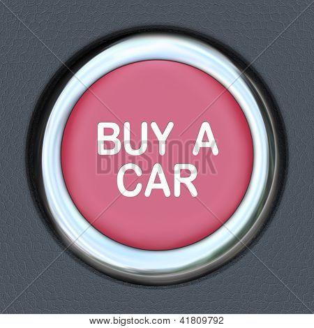 Um botão de ignição vermelho com as palavras comprar um carro que representa a necessidade de procurar e comprar um novo ve