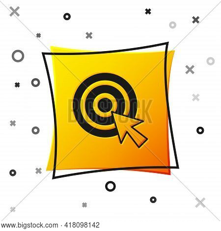 Black Target With Arrow Icon Isolated On White Background. Dart Board Sign. Archery Board Icon. Dart