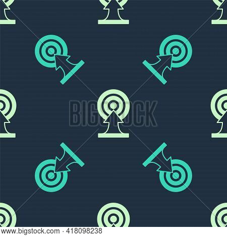 Green And Beige Target With Arrow Icon Isolated Seamless Pattern On Blue Background. Dart Board Sign