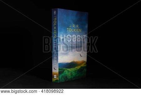 Galle, Sri Lanka - 04 07 2021:the Hobbit, World Famous Novel Book Lay Stands In The Dark Room Table