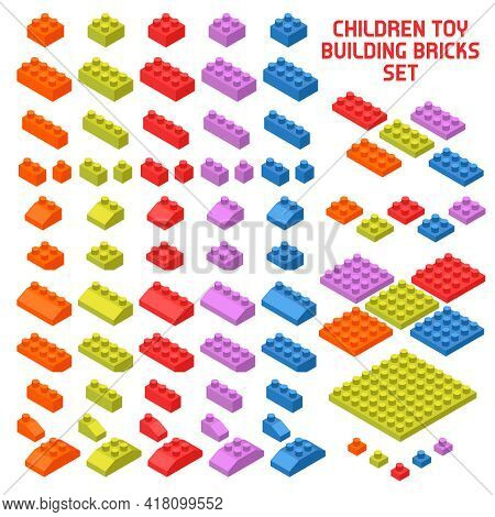 Children Toy Constructor Isometric Pieces Set With Colorful Building Bricks Various Shape And Size I