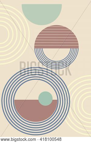 Abstract Background With Geometric Shapes And Lines. Rainbow Print And Sun Circle, Boho Style. Moder