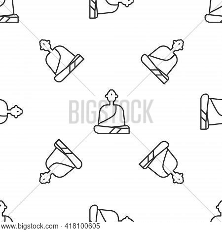 Grey Line Buddhist Monk In Robes Sitting In Meditation Icon Isolated Seamless Pattern On White Backg