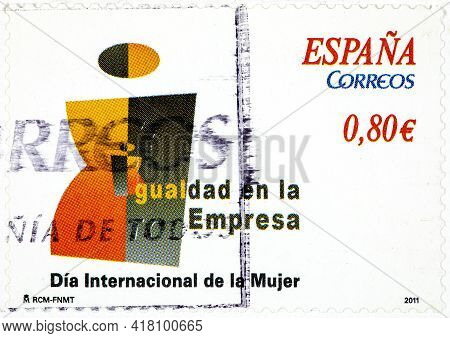 Spain - Circa 2011: A Stamp Printed In The Spain Shows, From The Series Dedicated To Women's Equalit