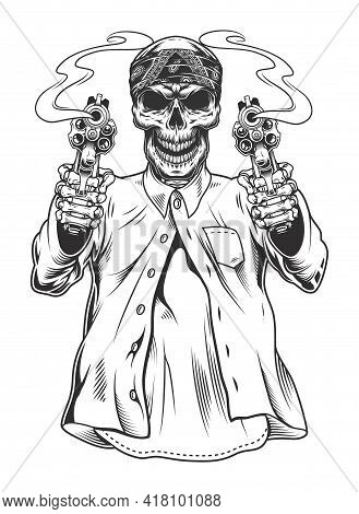 Skeleton Gangster In Bandana With Revolvers. Vector Illustration