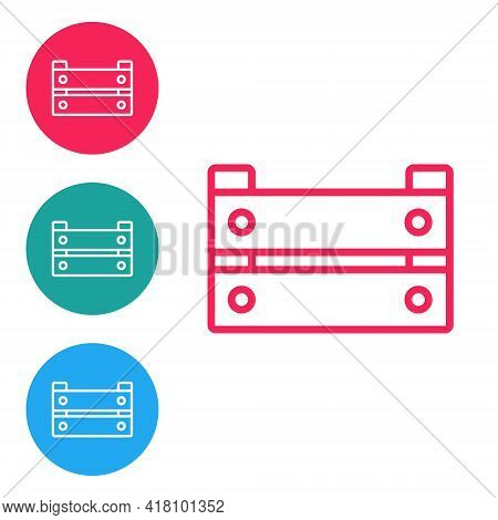 Red Line Wooden Box Icon Isolated On White Background. Grocery Basket, Storehouse Crate. Empty Woode
