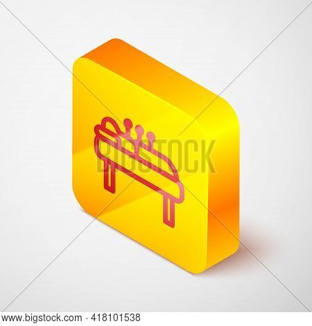 Isometric Line Acupuncture Therapy Icon Isolated On Grey Background. Chinese Medicine. Holistic Pain
