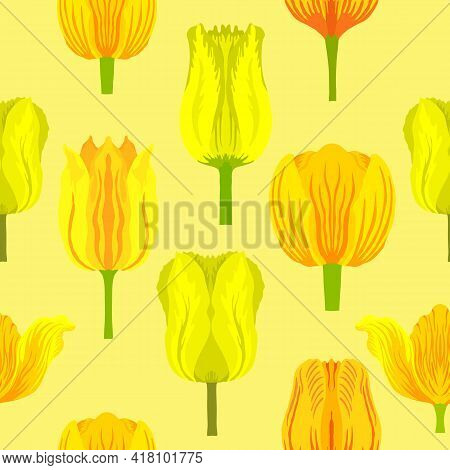 Seamless Pattern With Varietal Vibrant Yellow Tulips. Tulips Colorful Heads On The Light Yellow Back