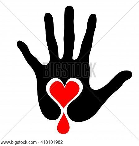 Blood Donation Hands Pictograph. Vector Illustration Style Is Flat Iconic Intensive Red And Black Sy