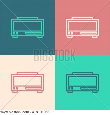 Pop Art Line Digital Alarm Clock Icon Isolated On Color Background. Electronic Watch Alarm Clock. Ti