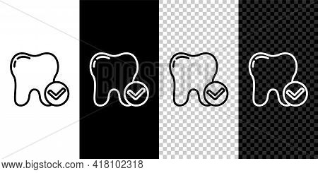Set Line Tooth Whitening Concept Icon Isolated On Black And White Background. Tooth Symbol For Denti