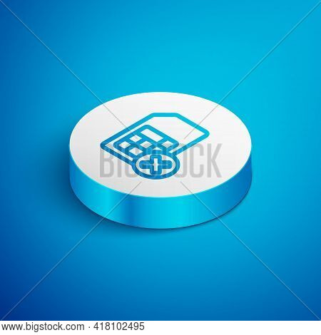 Isometric Line Sim Card Rejected Icon Isolated On Blue Background. Mobile Cellular Phone Sim Card Ch