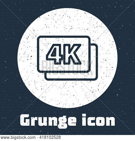 Grunge Line 4k Ultra Hd Icon Isolated On Grey Background. Monochrome Vintage Drawing. Vector
