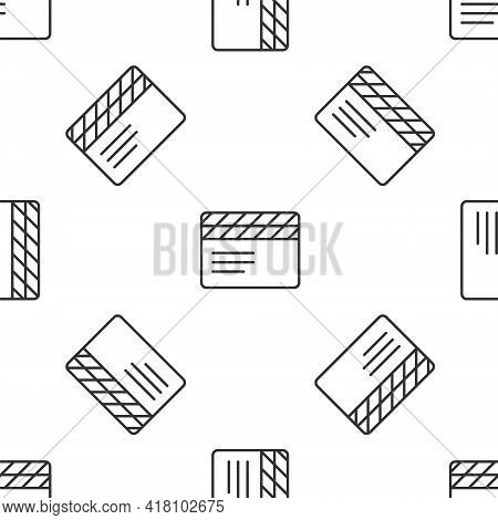 Grey Line Movie Clapper Icon Isolated Seamless Pattern On White Background. Film Clapper Board. Clap