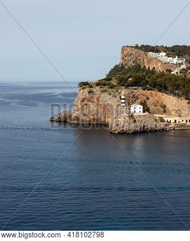 View Of The Lighthouse At Entrance Into Soller Bay, Port De Soller, Mallorca, Spain